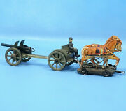 German Wwii Metal/tin Toy Military Canon Caisson Cart Horse Soldier Wheels Roll