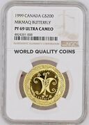1999 Canada Gold 200 The Butterfly Canadian Native Cultures Traditions Ngc Pf69