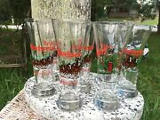 8 Vintage Budweiser Beer Clydesdales Christmas Trees 1991 And 1989 Pilsner Glasses