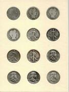 12 Silver Half Dollars All Different Barber Walking Liberty And Franklins