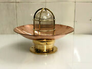 Authentic Old Antique Brass Nautical Ship Wall Mount Ceiling Light/shade Lot 5