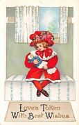 Victorian Valentinegirl In Red Dress Rose Hatcuddles Doll On Window Seatembos