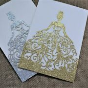 Glittered Paper Wedding Invitation Lace Folded Type Festive Event Party Supplies