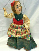 Vtg Hazelle Marionette Puppet Red Hair Curly Hair Girl Airplane Control Floral