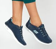Skechers Womenand039s Shoes Navy Memory Foam Slip On Sport Casual Bungee Lace 12825