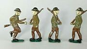 Rare Doughboy Ww1 Soldier Figurine 3-1/4 Tall Lead Lot Of 4 Vintage Toys