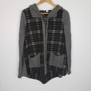 Anthropologie Moth Size Small Derry Plaid Wool Zip Up Hooded Jacket Pockets