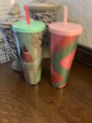 Starbucks Holiday 2020 Pink Swirl Glitter And Christmas Tree Cold Cup
