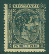 Spanish Philippines 1879 King Alfonso Xii 12c/25m Blue Surch. Scott 61 Mint Mh