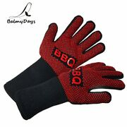 Bbq Gloves Heat Resistant Barbecue Grill Glove Oven Mitts Silicone Insulated