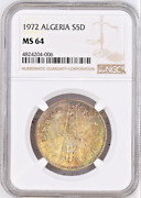 Algeria 1972 Silver 5 Dinars Fao 10th Anniversary Of Independence Ngc Ms64
