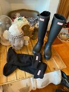 Black Hunter Rain Boots Size 5 With Warmers