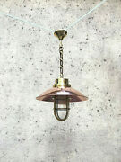 Nautical Vintage Style Hanging Bulkhead Brass And Copper Shade Light Lot Of 10