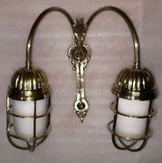 Authentic Nautical Marine Ship Solid Brass Wall Twin Lights White Globe Lot 10