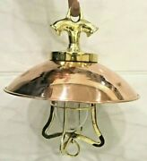 Nautical Vintage Style Hanging Bulkhead Brass And Copper Shade New Light Lot Of 5