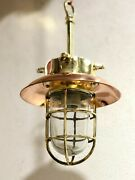 New Nautical Marine Brass Hanging Ship Pendant Light With Copper Shade Lot 10