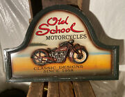 Vtg. Old School Motorcycles Wood Sign Classic Design Since 1958 Used