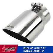 Car Stainless Steel 304 Bolt On Diesel Exhaust Tip 4 Inlet - 5 Outlet 9 Long