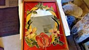 Vintage Art Glass Framed Mirror With Flowers And Leaves 17 X 25 Multicolors