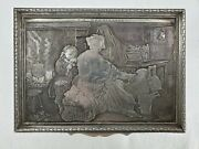 Antique Victorian Jewelry Box Intaglio Silver Printing Block Etching Plate Style