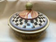 Mackenzie Childs Bowlderole Lidded Casserole Black And White Courtly Check Tureen