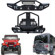 New Textured Front Or Rear Bumper W/oil Drum Rack For 1997-2006 Jeep Wrangler Tj