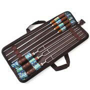 7 Pcs Bbq Skewers Stick Stainless Steel Portable Fork Set Outdoor Picnic Camping