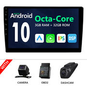 Cam+obd+dvr+10.1 Android 10 Double Din Stereo Radio Wifi Car Gps Navigation Usb