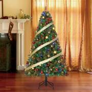 Home Heritage 9and039 Artificial Cascade Pine Christmas Tree Color Lights Open Box