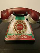 Vintage Coke Coca Cola Light Up Red Stained Glass Look Desk Phonecords And Box.