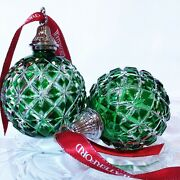 Pair Waterford Crystal 2014 Annual Ornament Christmas Cased Ball Emerald Green