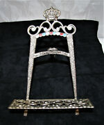 Antique Metal Bible Or Book Stand Made In Israel Vintage Beautiful Detail