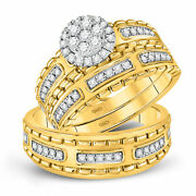 14kt Yellow Gold His Hers Round Diamond Cluster Matching Bridal Wedding Ring Set