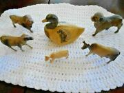 6 Celluloid Animal Toys Hollow And Fragile In Good Vintage Condition Circa1930