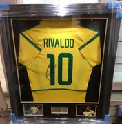 Rivaldo Signed And Framed Brazil Jersey 2002 World Cup Jersey Aftal Coa A