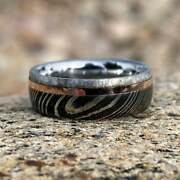 Gibeon Meteorite Ring Damascus Steel Band W/ 14k Rose Gold 6mm Wide Groomand039s