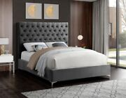 1piece King Size Bed Gray Velvet Bedroom Furniture Contemporary Gold/chrome Legs