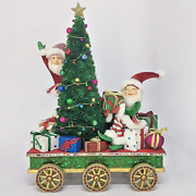 Elves With Tree On Train Car Katherineand039s Collection 28-028766 Christmas New Mint