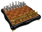 Oil Chess Board Whole Rubber Wood Figurines Zinc Alloy Zamak With Silver And ...