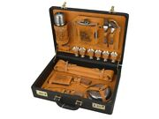 Hunting Gift Set Genuine Leather Stainless Steel Man A Vintage Picnic Basket ...