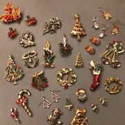26 Pc Huge Lot Vintage Costume Estate Jewelry Christmas Brooches Pins Gerry's