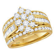 14kt Yellow Gold Womens Round Diamond Right Hand Cluster Ring 2 Cttw