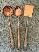 Vintage Hammered Copper Kitchen Spatula Slotted Ladle W/ Wood Wooden Handle Lot
