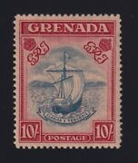 Grenada S.g. 163a 1944 10/- Steel Blue And Bright Carmine Mint Vf H