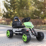 Kids Pedal Go Kart Ride On Toy 4 Wheeled Durable Metal Frame 3-6 Years Green