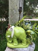Incredible Rare Vintage Royal Haeger Pottery Chartreuse Elephant With Rider Lamp