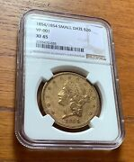 1854/1854 Small Date 20 Gold Liberty Head Double Eagle