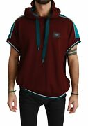 Dolce And Gabbana Sweater Dgmillennials Maroon Hooded Pullover It52/us42/xl 700