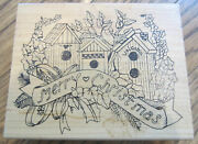 Art Gecko Merry Christmas Bird House Collage Ex Lg Large Wooden Rubber Stamp