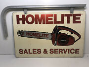Vintage Homelite Chainsaw Metal Dealers Sign 24 X 16 Double Side W/bracket Stout